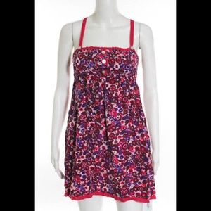 Free People Abstract Floral Silk A-line Sun Dress
